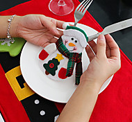 4Pcs Snowman  Knife And Fork Bags Christmas Table Decorations
