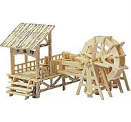 Недорогие -3D пазлы Пазлы Деревянные пазлы Наборы для моделирования Игрушки Китайская архитектура моделирование Дерево Куски