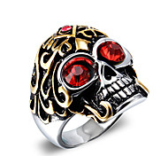 cheap -Men's Statement Ring Red Blue Zircon Titanium Steel Skull Vintage Fashion Punk Christmas Gifts Halloween Daily Casual Costume Jewelry