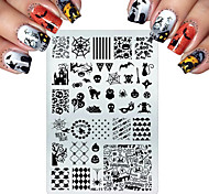 Stainless Steel Stamping For Cats Halloween Skull Butterfly Flower Nail Stamping Plates Nail Art