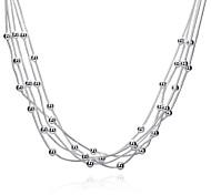 Недорогие -Жен. Слоистые ожерелья  -  Стерлинговое серебро, Серебрянное покрытие кисточка Белый Ожерелье Назначение Для вечеринок, Повседневные