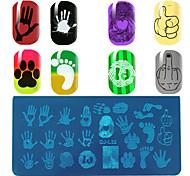 retangular qualidade modelo de placa azul filme palma pattern impressão digital de impressão manicure placa de pé