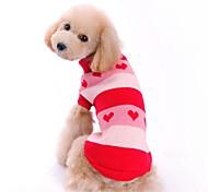Недорогие -Кошка Собака Свитера Одежда для собак С сердцем Красный Синий Акриловые волокна Костюм Для домашних животных Муж. Жен. Очаровательный На