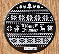 Christmas Design Round Stainless Steel Nail Plates hehe60 Series Nail Art Image