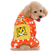 Cat Dog Jumpsuit Pajamas Dog Clothes Corduroy Spring/Fall Winter Cute Casual/Daily Keep Warm Cartoon Orange Dark Blue Yellow Pink For Pets