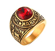 cheap -Men's Statement Ring Rhinestone Golden Stainless Steel Rhinestone Gold Plated Imitation Diamond Personalized Fashion Punk Christmas Gifts