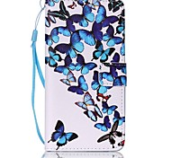 for Huawei P9 Lite Y5II Blue Butterfly Painted Card Stent PU Leather Mobile Phone Holster Phone Case for Huawei P9 Lite Y5II Y6II