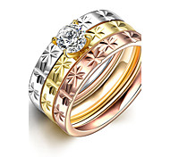 Fashion Women Triple Layer Inlay CZ Diamond 316L Stainless Steel Rings Romantic Engagement Stacking Rings