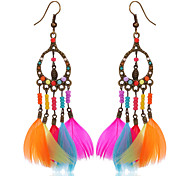 cheap -New Arrival Indian Jewelry Bohemia Boho Earrings Colorful Feather Long Hanging Earrings Wholesale Fashionable Jewelry
