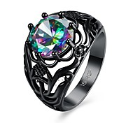 Vintage Pattern Black Gold Plated Filled CZ Rainbow Fire Crystal Topaz Party Wedding Rings For Women  Fashion Jewelry