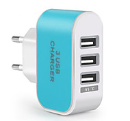 cheap -Portable Charger Phone USB Charger EU Plug Multi Ports 3 USB Ports 3.1A AC 100V-240V