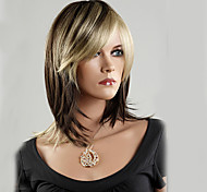 Black Gold Color Mixture Bobo Middle Length Synthetic Hair Wig