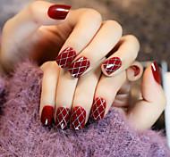 24Pcs Wine Red Stockings Sexy Nail Strips Restoring Ancient Ways 1Set