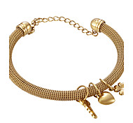 Heart Key Charms Stainless Steel Gold Plated Net Wire  Bangle