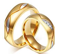 Недорогие -Для пары Кольца для пар - Позолота 18К, Нержавеющая сталь, Стразы На заказ, Роскошь, Мода Стандартный размер Черный / Золотой Назначение Свадьба / Для вечеринок / Повседневные