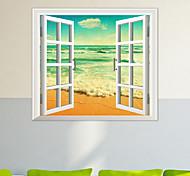 stickers muraux fenêtre d'eau de mer matériel pvc 3d mur de la peau décorative autocollants