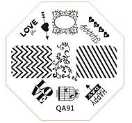 ногтей штамп штамповка изображения шаблон пластины серии QA