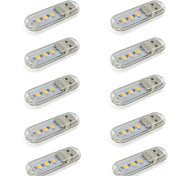 Недорогие -мини-светодиодная USB свет ночи компактный размер для чтения / Настольная лампа теплого / холодного белого 5v DC 3 5730smd (10 штук)