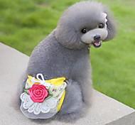 Недорогие -Кошка Собака Брюки Одежда для собак Цветы Бежевый Желтый Зеленый Розовый Хлопок Костюм Для домашних животных Муж. Жен. Очаровательный На
