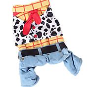 Собака Костюмы Комбинезоны Одежда для собак ковбой Мода Джинсы Радужный