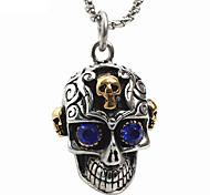 Недорогие -мужской стиль панк кулон ожерелье шарма нержавеющей стали 316l ретро резьба форма черепа синий драгоценный камень ювелирные изделия