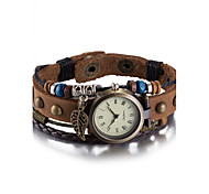 cheap -Women's Wrist watch Bracelet Watch Fashion Watch Quartz Water Resistant / Water Proof Leather Band Vintage Bohemian Bangle Brown