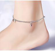 abordables -Argent sterling Bracelet de cheville - Femme Argent Bracelet de cheville Pour Soirée Quotidien Décontracté