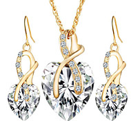 May Polly  Europe and the United States Diamond Crystal Love Necklace Earrings Set