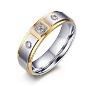cheap -Women's Statement Ring AAA Cubic Zirconia White Stainless Steel Zircon Cubic Zirconia Gold Plated Luxury Fashion Wedding Party Daily