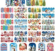 1 Sheets Christmas Sticker Nail Art Decals Fashion Red Deer Xmas Full Designs for Nail Decorations Watermark Tips A1129-1140
