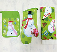 1pc Pocket Mitten 1pc Oven Glove 1pc Towel Cotton Bakeware Sets For Cake / Chocolate / Bread / Cookie / Cupcake  Xmas Kitchen Sets