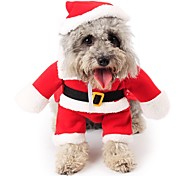 Cat Dog Costume Jumpsuit Christmas Dog Clothes Cute Cosplay Christmas Cartoon Red Costume For Pets