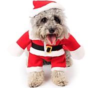 Недорогие -Кошка Собака Костюмы Комбинезоны Рождество Одежда для собак Очаровательный Косплей Рождество Мультфильмы Красный Костюм Для домашних