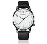 REBIRTH® Unisex Fashion Watch / Wrist watch Quartz / Leather Band Casual Black / White Brand