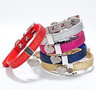 Dog Collar Adjustable / Retractable Hearts Rhinestone PU Leather Gold Silver Rose Red Blue