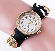 Женские Модные часы Часы-браслет / Кварцевый Материал Группа В точечку Цветы Повседневная Черный Белый Красный Розовый Темно-синий Роуз