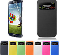 cheap -Case For Samsung Galaxy Samsung Galaxy Case with Windows Flip Full Body Cases Solid Color PU Leather for S4