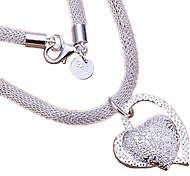 cheap -Women's Heart Sterling Silver Pendant Necklace  -  Love Heart Bridal Silver Necklace For Wedding Party Anniversary