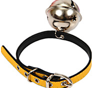 Cat Dog Collar With Bell Casual Solid PU Leather Yellow