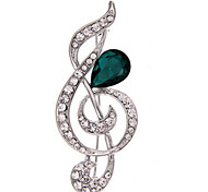 Women's Brooches Crystal Fashion Costume Jewelry Imitation Diamond Music Notes Jewelry For Daily