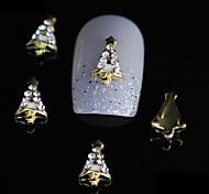 10шт мило Рождество дерево 3d сплав ногтей стразами золото поделки ногтей украшения