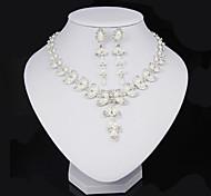 preiswerte -Damen Strass Imitierte Perlen Perle Krystall Künstliche Perle Blattform Schmuck-Set 1 Halskette 1 Paar Ohrringe - Blattform Schmuckset Für