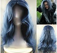 жен. Парики из искусственных волос Без шапочки-основы Длиный Лёгкие волны Синий Прямой пробор Парики для косплей Парик для Хэллоуина