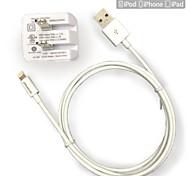 Недорогие -UL сертифицированный путешествия стены заряд 1а / 2.1a двойной выход + яблоко МФО сертифицированный молнии круглый кабель для iPhone 6