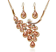 cheap -Women's Synthetic Diamond / Rhinestone Cross Peacock Jewelry Set 1 Necklace / 1 Pair of Earrings - Fashion Peacock White / Champagne