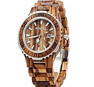 Men's Women's Couple's Wrist watch Fashion Watch Wood Watch Quartz Japanese Quartz Calendar / date / day Wood Band Luxury Red