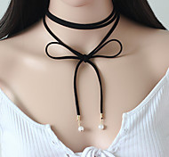 cheap -Women's Flower Imitation Pearl Leather Choker Necklace Tattoo Choker Y-Necklace  -  Personalized Tattoo Style Vintage Black Necklace For