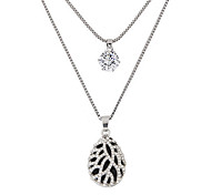 cheap -Women's Drop Rhinestone Imitation Diamond Pendant Necklace  -  Fashion Double-layer Teardrop Silver Necklace For Party Daily