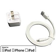 Недорогие -UL сертифицированный путешествия стены заряд 1а / 2.1a двойной выход + яблоко МФО сертифицированный молнии Фальт кабель для iPhone 6 Ipad