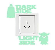 Недорогие -Животные Мода Мультипликация Наклейки Простые наклейки Светящиеся наклейки Декоративные наклейки на стены Наклейки для выключателя света,